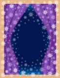 Origineel kader voor foto's en tekst Weergeven van de ruimte van het venster Openwork sneeuwvlokken op een blauwe achtergrond lei stock illustratie