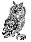 Origineel kunstwerk van uil, de tekening van de inkthand binnen Royalty-vrije Stock Foto