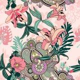 Origineel in naadloos artistiek bloempatroon vector illustratie