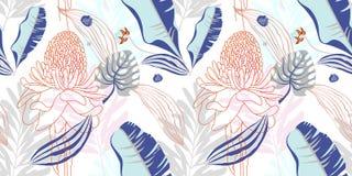 Origineel in naadloos artistiek bloempatroon, mooie trop royalty-vrije illustratie
