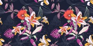 Origineel in naadloos artistiek bloempatroon, mooie trop vector illustratie