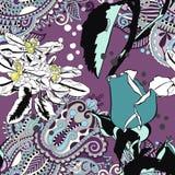 Origineel in naadloos artistiek bloempatroon, mooie trop stock illustratie
