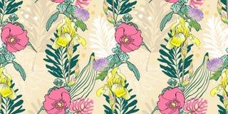 Origineel in naadloos artistiek bloempatroon, mooie tropische bloemen exotische achtergrond stock illustratie