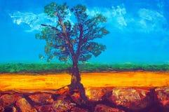 Origineel olieverfschilderij Stock Afbeelding