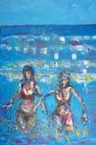 Origineel olieverfschilderij Stock Foto