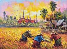 Origineel olieverfschilderij op canvas - het landbouwersleven Stock Afbeelding