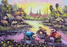Origineel olieverfschilderij op canvas - het waterkantleven Royalty-vrije Stock Fotografie