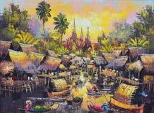Origineel olieverfschilderij op canvas - het waterkantleven Royalty-vrije Stock Afbeeldingen