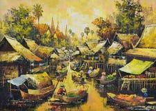 Origineel olieverfschilderij op canvas - het waterkantleven Stock Foto's