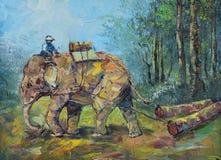 Origineel olieverfschilderij op canvas - Olifanten om logboeken te slepen Royalty-vrije Stock Afbeeldingen