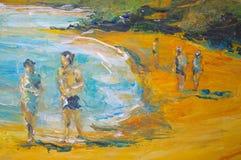 Origineel olieverfschilderij op canvas voor giclee royalty-vrije illustratie