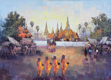 Origineel olieverfschilderij op canvas - vraagt de cultuur Thaise monnik om aalmoes Stock Afbeelding