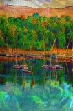 Origineel olieverfschilderij van Feluccas Stock Fotografie
