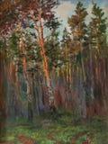 Origineel olieverfschilderij van van pijnboombomen en struiken het concept van Forest Impressionism Art Royalty-vrije Stock Foto