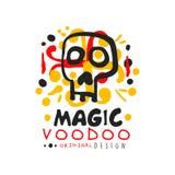 Origineel van het Voodoo Afrikaans en Amerikaans magisch embleem of etiket ontwerp met abstracte hand getrokken mysticusschedel e vector illustratie