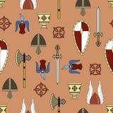 Origineel vector naadloos patroon over het leven van Vikingen stock illustratie