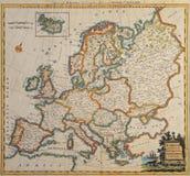 Originele antieke Europa kaart. Stock Foto