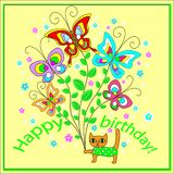 Originele groetkaart met een gelukkige verjaardag Een boeket die van vrolijke fladderende vlinders, tot een feestelijke stemming  royalty-vrije illustratie