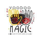 Originele hand getrokken ontwerp abstracte illustratie met handen en ogen voor embleem van de Voodoo het magische winkel Cultuur  stock illustratie