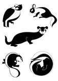 Originele kunst dierlijke silhouetten Stock Foto's