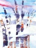 Originele kunst, waterverf het schilderen van rivier in de winter met berken stock illustratie