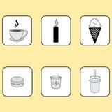 originele pictogrammen, koffie, aansteker, voedsel, sandwich Stock Foto's