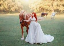 Originele rust voor bruid bij vrijgezellinpartij, mollige grote dame die in lange witte kleding bruin bevallig paard houden met stock afbeelding