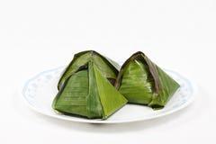 Originele traditionele die nasi lemak in banaanblad wordt verpakt Royalty-vrije Stock Foto