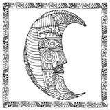 Originele zwart-witte tekening van maan Stock Foto's