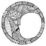 Originele zwart-witte tekening van maan Royalty-vrije Stock Afbeeldingen