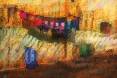 originell målning för egypt hus stock illustrationer