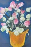 originell målning för handlotusblomma Royaltyfria Bilder