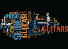 The Origins And Magic Of Slide Guitar Text Background  Word Cloud Concept Stock Image