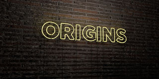 ORIGINS -Realistic Neon Sign on Brick Wall background - 3D rendered royalty free stock image Royalty Free Stock Photo