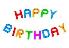 Origâmi do feliz aniversario que cumprimenta Imagem de Stock