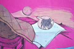 Orignal still life art drawing in pink tones Stock Photo