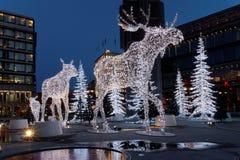 Orignaux de Noël faits en lumière Photo libre de droits