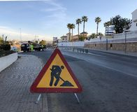 Orihuela Costa, Alicante, Spain- March 2019: Construction road sign