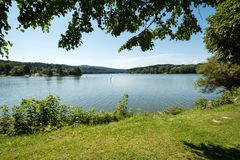 Orilla agradable del lago con enmarcado por las ramas de un árbol Imagenes de archivo