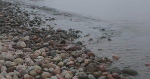 Orilla de mar Báltico pedregosa en tiempo nublado del otoño almacen de metraje de vídeo