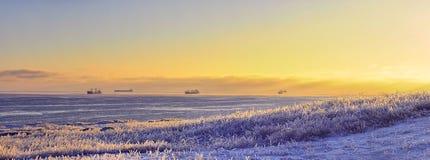 Orilla de mar con la hierba cubierta con hielo y naves en el mar Foto de archivo libre de regalías