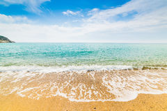 Orilla de oro en la playa de Solanas Imagen de archivo