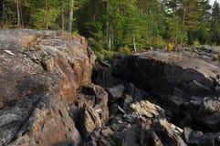 Orilla del agua de Ladoga Fotografía de archivo