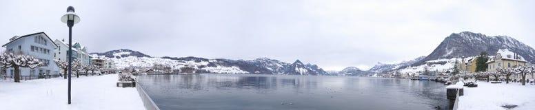 Orilla del lago de Buochs en invierno fotos de archivo libres de regalías