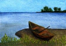 Orilla del lago de la pintura de la acuarela Imagenes de archivo