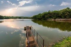 Orilla del lago en la tarde Imagenes de archivo