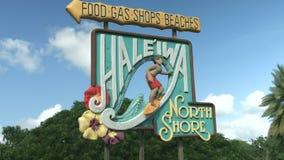 orilla del norte Oahu Hawaii de 4K Haleiwa Sighboard metrajes
