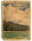 Orilla del océano, playa. Postal vieja. foto de archivo libre de regalías
