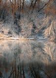 Orilla del río en invierno Imagen de archivo libre de regalías