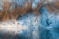 Orilla del río en invierno Foto de archivo libre de regalías